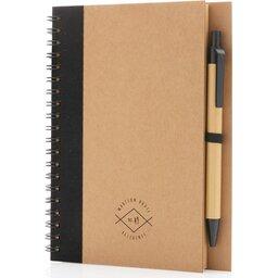 Kraft spiraal notitieboekje met pen-gepersonaliseerd