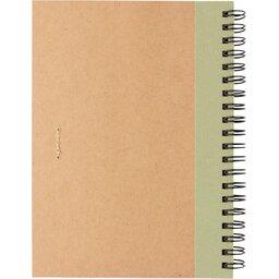 Kraft spiraal notitieboekje met pen-groen achterzijde