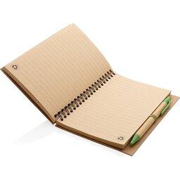 Kraft spiraal notitieboekje met pen-groen binnenzijde