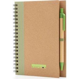 Kraft spiraal notitieboekje met pen-groen gepersonaliseerd