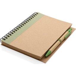 Kraft spiraal notitieboekje met pen-groen liggend