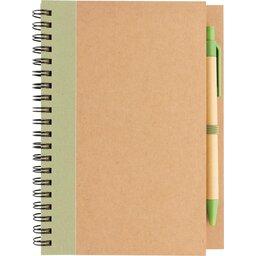 Kraft spiraal notitieboekje met pen-groen voorzijde