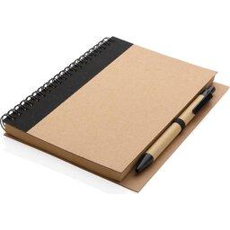 Kraft spiraal notitieboekje met pen-liggend