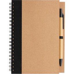 Kraft spiraal notitieboekje met pen-voorzijde