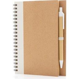 Kraft spiraal notitieboekje met pen-wit