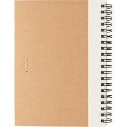 Kraft spiraal notitieboekje met pen-wit achterzijde