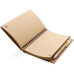Kraft spiraal notitieboekje met pen-wit binnenzijde
