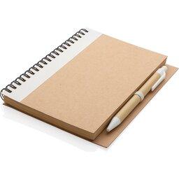 Kraft spiraal notitieboekje met pen-wit liggend