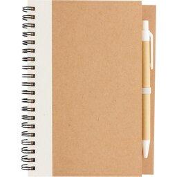 Kraft spiraal notitieboekje met pen-wit voorzijde