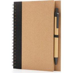 Kraft spiraal notitieboekje met pen-groen