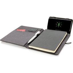 Kyoto notitieboek met 5W draadloze 4.000 mAh powerbank -voorbeeld