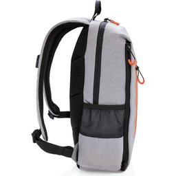 "Lima 15"" PVC vrije laptop rugzak met RFID & USB-oranje zijkant"