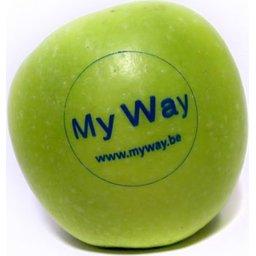Logo appelen blauw bedrukt