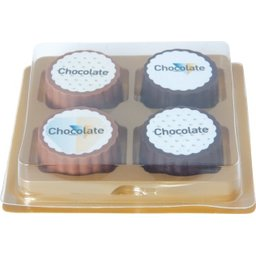 Logo bonbon van pure of melkchocolade met praline - 4 stuks bedrukken