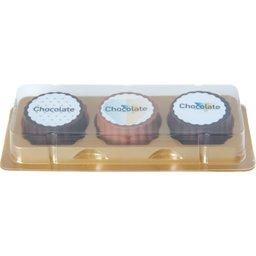 Logo bonbon van puur melk chocolade met hazelnoot praline