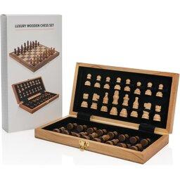 Luxe houten opvouwbare schaakset met logo