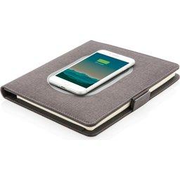 Luxe portfolio met draadloze oplader voor smartphone