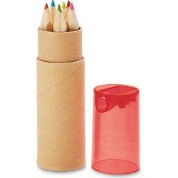 6 kleurpotloden in koker met puntenslijper