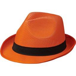 Oranje Trilby hoed met gekleurd lint naar keuze