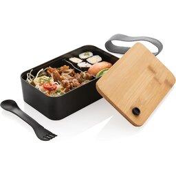 PP lunchbox met bamboe deksel en spork-eten