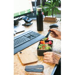 PP lunchbox met bamboe deksel en spork-sfeerbeeld