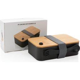 PP lunchbox met bamboe deksel en spork-verpakking