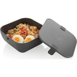 PP lunchbox vierkant-antraciet open