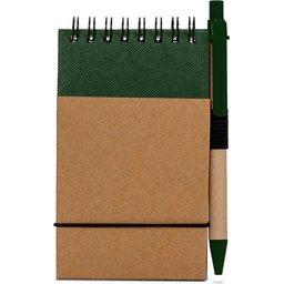 Reporter Notitieboekje Recycled Papier met Pen-groen recht