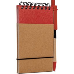 Reporter Notitieboekje Recycled Papier met Pen-rood