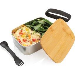 Roestvrijstalen lunchbox met bamboe deksel en spork-open