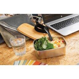 Roestvrijstalen lunchbox met bamboe deksel en spork-sfeerbeeld