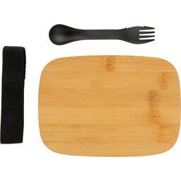 Roestvrijstalen lunchbox met bamboe deksel en spork-uiteengezet