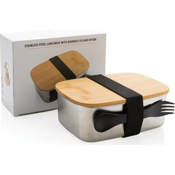 Roestvrijstalen lunchbox met bamboe deksel en spork-verpakking