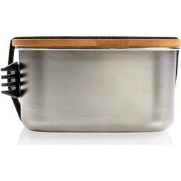Roestvrijstalen lunchbox met bamboe deksel en spork-voorzijde
