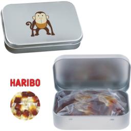 Scharnierblik met Haribo colaflesjes snoepgoed