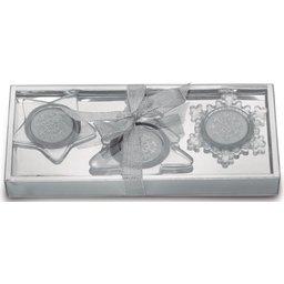 Set van 3 glazen kaarshouders bedrukken