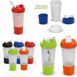 Shaker sportfles met opbergvakje voor sport supplementen