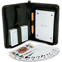 Speelkaarten etui met notitieblokje en potlood