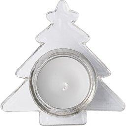 Theelichthouder in vorm van kerstboom met witte kaars