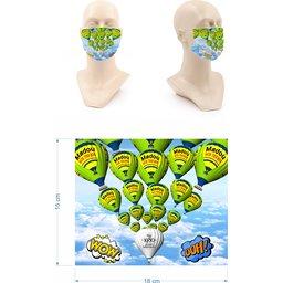 Wasbaar stoffen mondmasker met bedrukking naar keuze besteld
