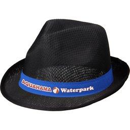 Zwarte Trilby hoed met gekleurd lint naar keuze bedrukken